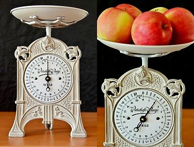 Antique, Vintage, Old Style, Shabby Chic, Renovated German Kitchen Scale - WHITE