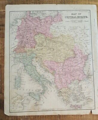 Antique Hand Colored MAP - CENTRAL EUROPE - Common School Geography 1873
