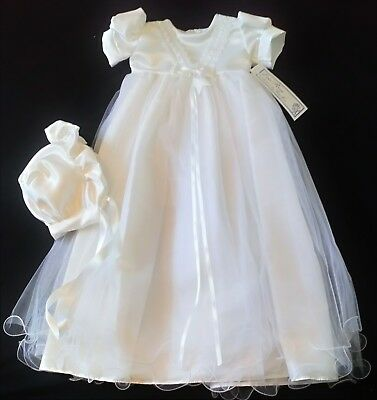 baby girls christening gown white satin bodice tulle skirt wired hem 3-6m new