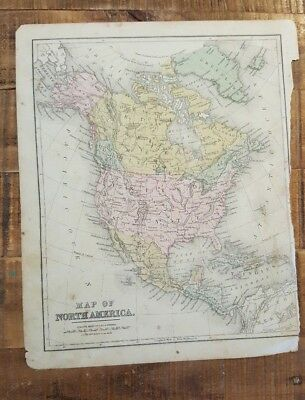 Antique Hand Colored MAP OF NORTH AMERICA Common School Geography 1873