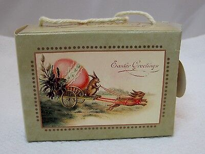 Older Paper Easter Candy Gift Box Suitcase Very Sweet Easter Joys 3.5x2.5x1.5 D3