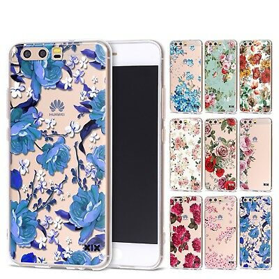 HUAWEI P8 P9 P10 Lite 2017 P20 Pro Soft Silicon Cartoon Cover Case Flower Roses