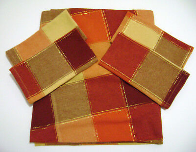 "VINTAGE FABRIC TABLECLOTH 56"" Rd & 4 NAPKINS PLAID FALL AUTUMN COLORS"