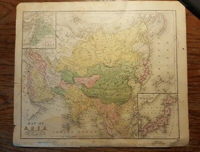 Antique Hand Colored MAP - ASIA / Common School Geography 1873