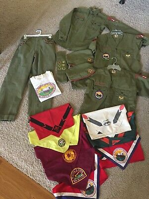 1950's Large Lot Of A Boy Scout Uniform, Neckerchiefs, Hats, Sash, Pins, & More!