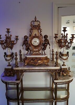 STUNNING Imperial Brass Mantle Clock / Candelabra Set ,With marble & Brass unit