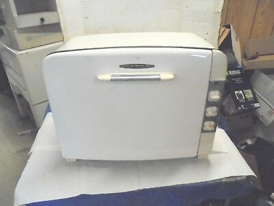 vintage counter top electric stove universal white finish needs work movie prop