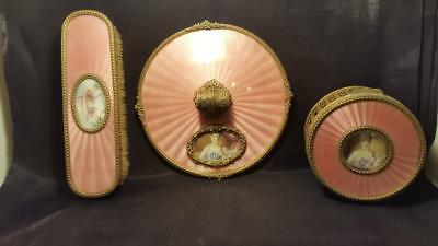 Antique French Pink Guilloche Vanity Set Portraits Hand Mirror Powder Jar Brush