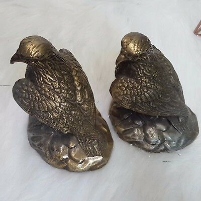 """Vintage Lot 2  Bronze Eagles Statues  Very Heavy Pair two 6"""" tall"""