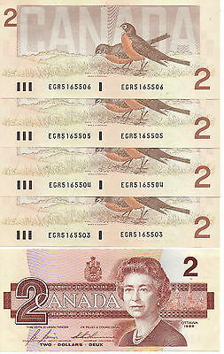 Canada $2.00 Bills-- Five Consecutive Crisp Uncirculated-1986 replaced by coins