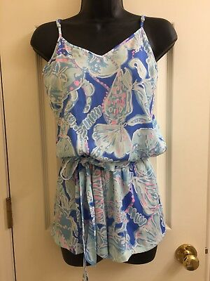 5fc95d872041 Lilly Pulitzer Deanna Romper Bay Blue Into The Deep Sz Xxs Euc