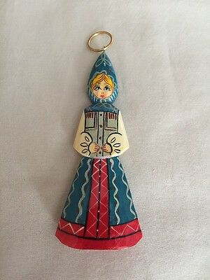 Vintage Wood Russian Doll Christmas Ornament Hand Painted ~ Signed 4.25""
