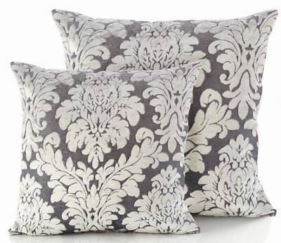 "Velvet Cut Embossed Damask Victorian Grey/silver 18"" Cushion Cover £4.99 Each"