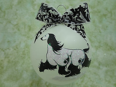 T030 Hand-made Christmas Ornament stylized DOG tattoo - flowing afghan hound