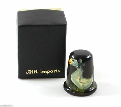 Hand Painted Goose Wooden Sewing Thimble Wood Signed JHB Imports Box