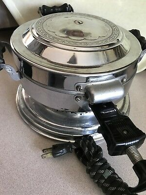 Vintage Art Deco Mirro Waffle Iron, Unrestored, with Cord