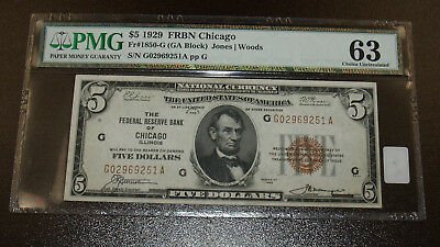 1929 $5 Chicago National Currency Note FR 1850-G PMG Choice Uncirculated 63!