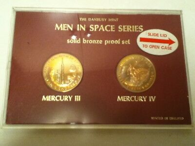 The Danbury Mint Men In Space Series Solid Bronze Proof Set Mercury Iii & Iv