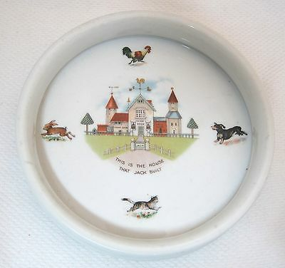 Antique Baby Dish Bowl German House That Jack Built Dachshund Rabbit Cat Chicken