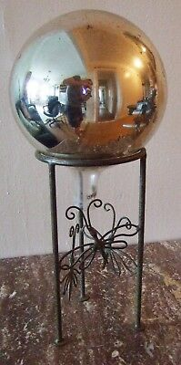 Early 20th Century Large 9-inch Gazing Ball on Dragonfly Stand ~ Occult Psychic