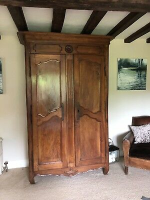 Large antique Solid Fruitwood wardrobe/armoire