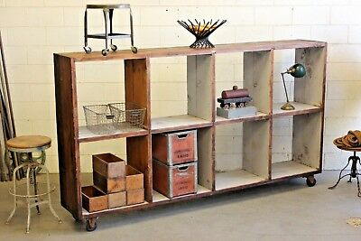 Large Vintage Industrial Rolling Shelving Cubby Factory Wall Unit Hand Made Wood