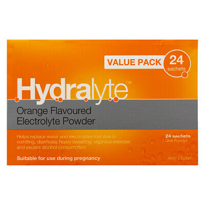 NEW Hydralyte Electrolyte Powder Pack Orange Value Pack 4.9G 24 Sachets