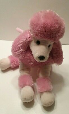 """Pink Poodle Dog Purse Toy With Handles and Zipper 12"""" x 14"""" EUC"""