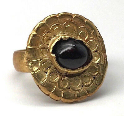 Ancient GREEK Ring 22k GOLD 4th - 2nd Century BC Greece GARNET 4.7 Grams SZ 4.5