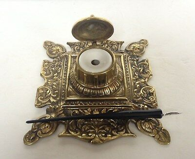 Art Nouveau Style Brass Inkwell with Ceramic Ink Pot Insert & Pen