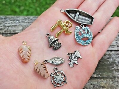 Vintage Lot of 9 Small Silver Metal-Wood CHARMS Pendants Bracelet-Misc.
