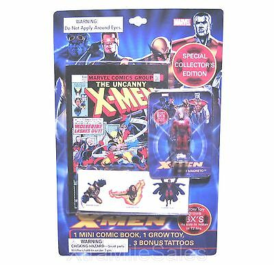 Marvel The Uncanny X-Men Mini Comic Book Magneto Grow Toy 3 Temp Tattoos Xmen