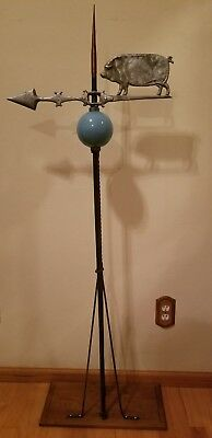 "Antique Cast aluminum Pig-Hog Weathervane Lightning Rod ""ELECTRA"" Ball & Mount!"
