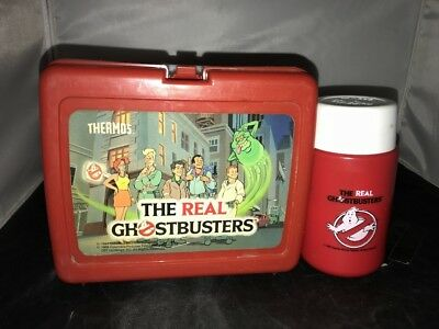 Vintage Lunch Box With Thermos The Real Ghostbusters Red