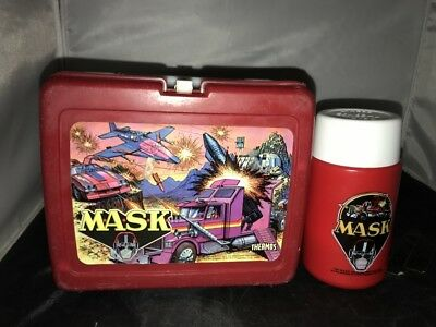 Vintage Lunch Box With Thermos 1985 Red Mask Plastic Listing #2
