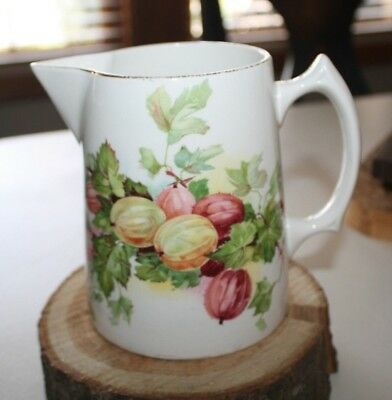Antique Edwin M Knowles China Semi Vitreous Syrup Pitcher Gooseberries