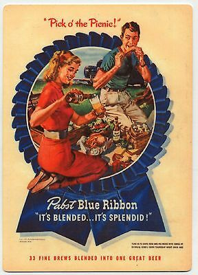 Pabst Blue Ribbon Beer - Large METAL PBR Kitchen Magnet - Pick of the Picnic