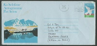 1989 Lesotho 20s Pictorial Aerogramme Used to Equatorial Guinea, Backstamped
