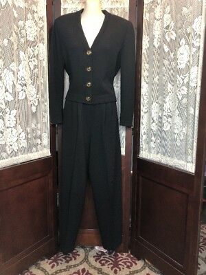 St John Basics  by Marie Gray Black Knit Pant Suit Size Small/4