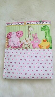 "New baby girls Bassinet/cradle /pram quilt - "" Babys first cuddly friends"""