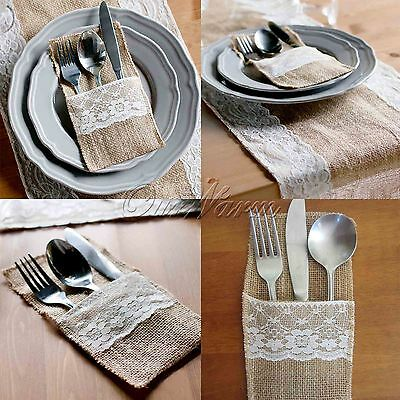 50/100x Hessian Rustic Burlap Lace Cutlery Holder Pouch Bag Wedding Table Decor