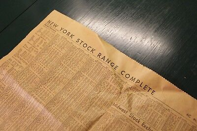 Vintage Newspaper Page - New York Stock Exchange (NYSE) 1951