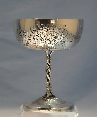Chinese Sterling Silver Engraved Chalice/Goblet Luen Wo Chrysanthemum & Bamboo