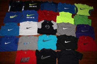 Lot Of 23 Nike Dri-Fit Youth Boys Athletic T Shirts Tees Big Swoosh All Large