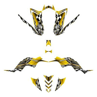 Raptor 90 graphics Yamaha YFM 90R custom ATV sticker kit #2500 Yellow