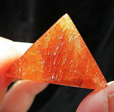 5A+ rare  trihedron ! full red rutilated natural clear quartz crystal pyramid