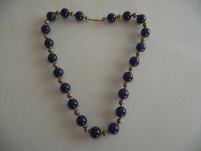 Antique Chinese Lapis Lazuli Necklace, 9Ct Gold Clasp - C1910, 22.0'' Long