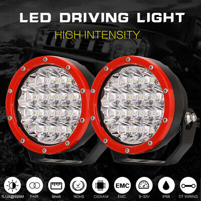 Pair 5inch OSRAM LED Driving Lights Spot Spotlights Round Red Work Offroad Jeep