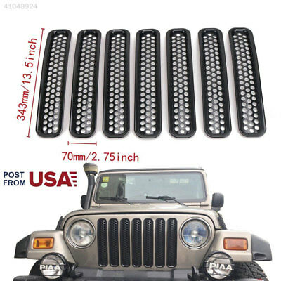 For 1997-2006 Jeep Wrangler TJ 7pcs Front Grille Cover Insert Mesh Grill Shell