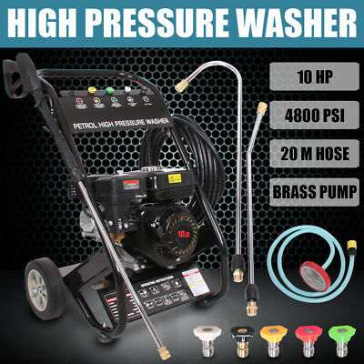 10HP 4800PSI High Pressure Washer Cleaner Petrol Water Gurney 20M Hose Upgrade